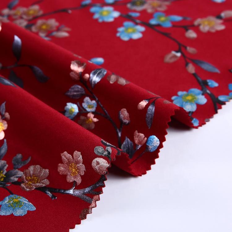Professional fashion polyester floral air foil digital print dress textile scuba fabric