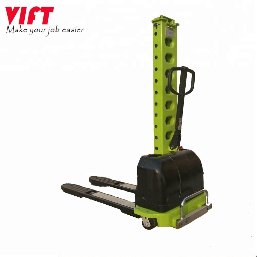 China supply load capacity 500kg semi-electric self-load/unload portable pallet stacker with CE certificates