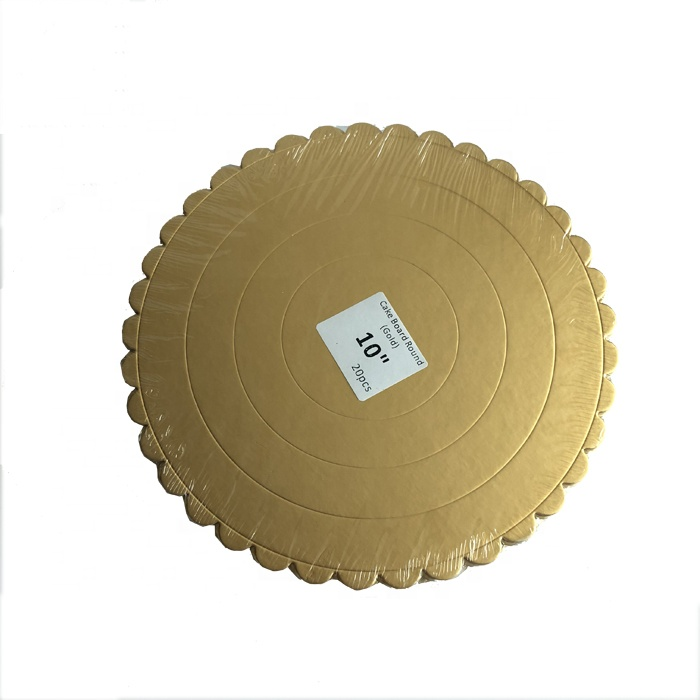 Golden square shape scalloped cake Boards foil paper with handle