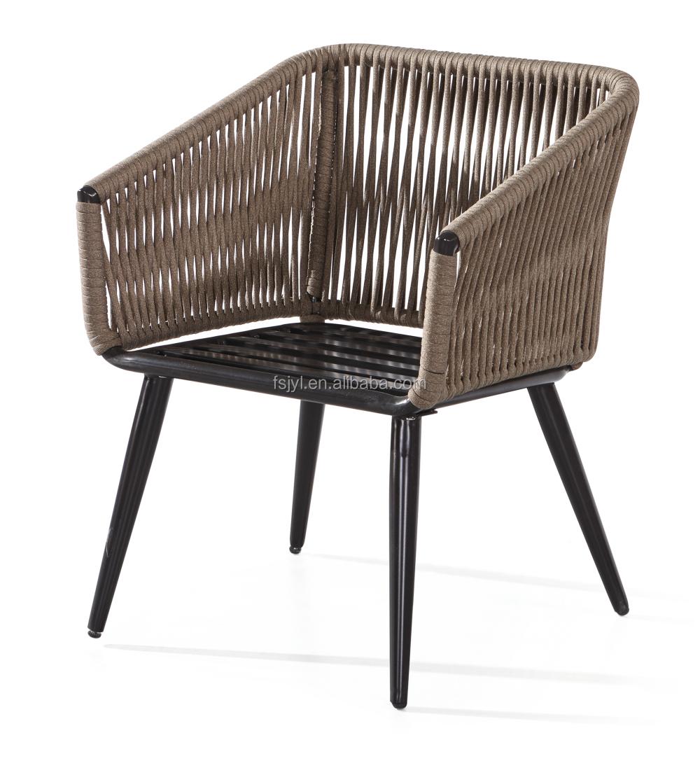 European hotel aluminum rope used patio rope chair furniture cafe furniture