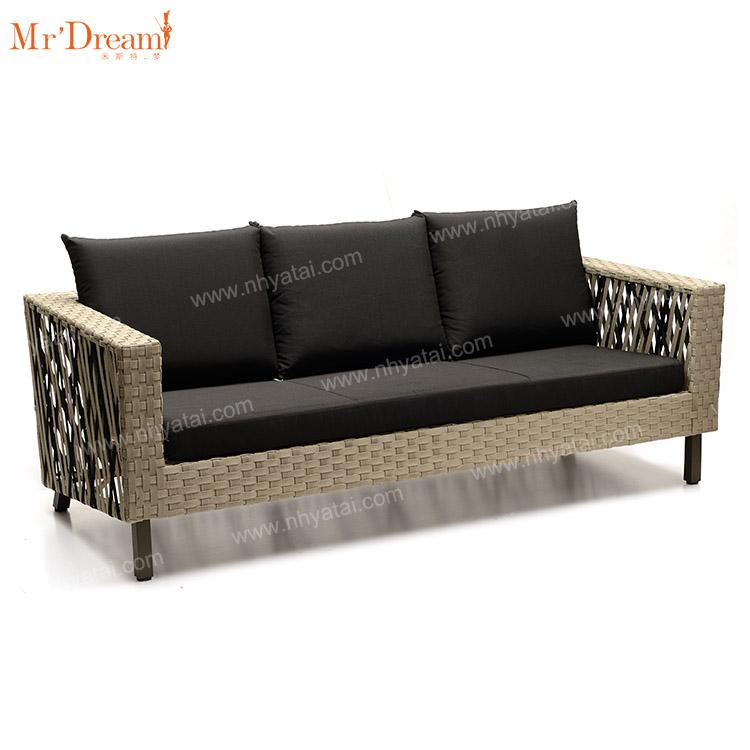 2021 Водонепроницаемая плетеная уличная мебель для дивана во французском стиле для отеля