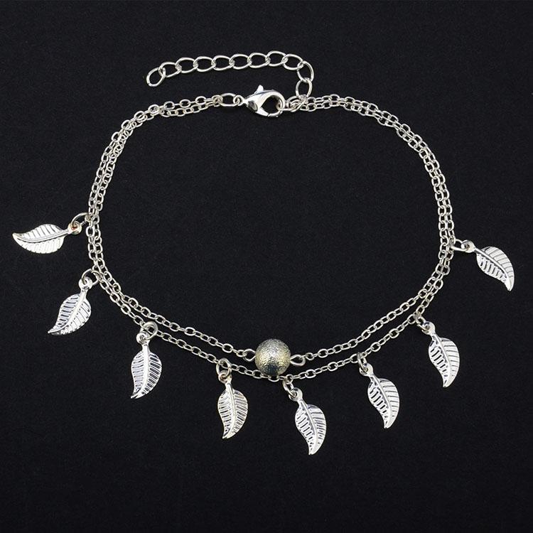 цвета: золотистый, серебристый бахромой маленькие листья двухслойные Винтаж кисточкой ножной браслет для девочек