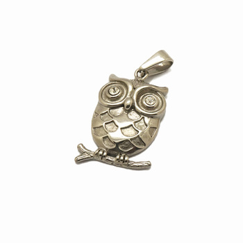 Sterling Silver Stainless Steel Necklace Pendant Animal Women Men Diamond Eyes Owl Pendant