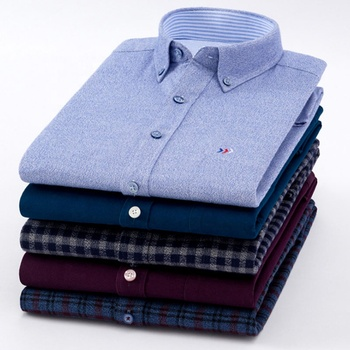 Wholesale 100% Brushed Cotton Men's Shirts Long Sleeve Dress Shirts