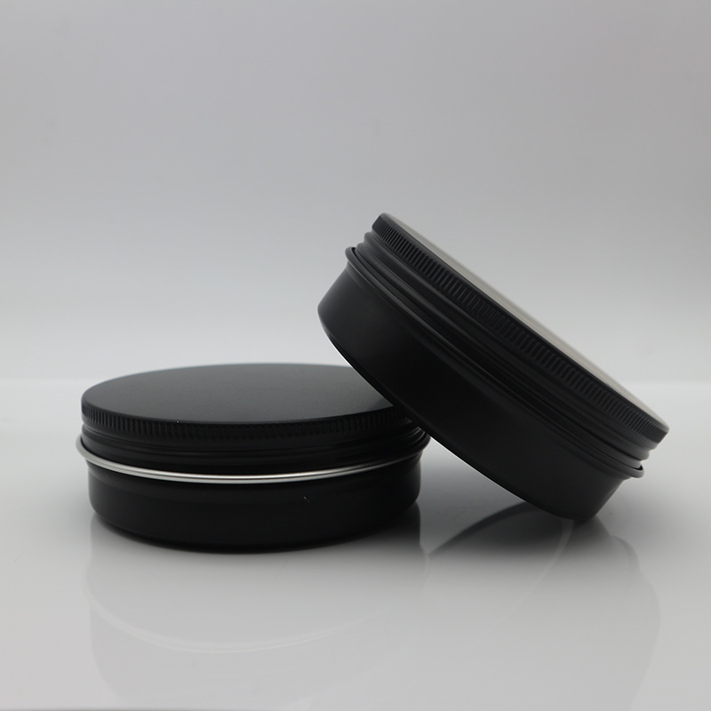 In stock custom 30g 50g 60g black aluminum cream balm beard tin with screw cap