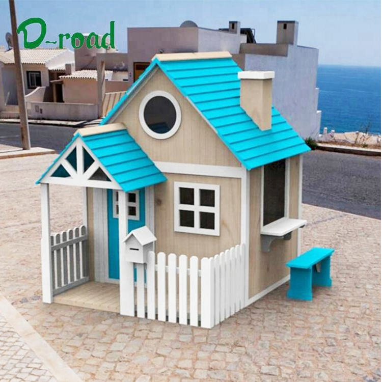 Outdoor garden kid's backyard  2 step wood play house wooden playground kids playhouse with porch