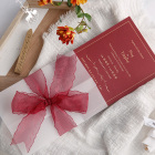 12.5*18cm Hot Stamping Red Wedding Invitation With Ribbon