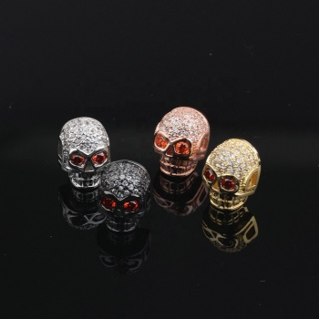 AliExpress wish micro-inlaid white zircon skull beads red eye cubic zircon pave copper charmed beads small moq