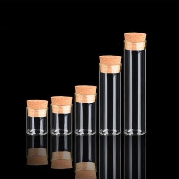 Clear small mini borosilicate glass test tube bottle vials with cork lid stopper for candy food storage