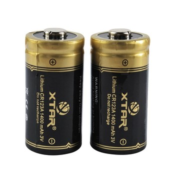 XTAR CR123A 1400mAh 3V Li-ion battery max 1.4A Discharge Current Rechargeable Flashlight Battery
