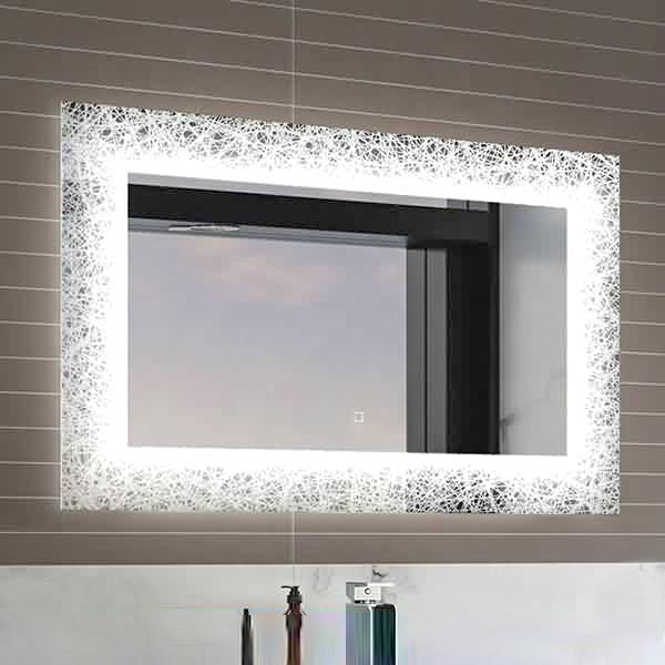 Norhs Designer Contemporary Frameless Bathroom Wall Touch Sensor Led Light Up Beauty Mirror With Pattern Buy Led Light Mirror Light Up Beauty Mirror Lighted Wall Mirror Product On Alibaba Com