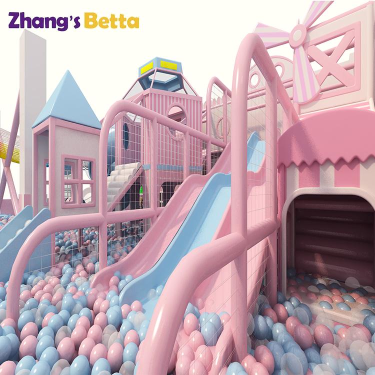 Розовая игровая площадка для помещений, платный дизайн