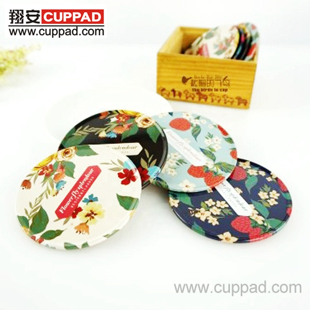 OEM beautiful table decoration tin coasters with cork bottom for household or promotion gift
