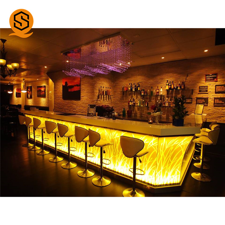 Luxury design night club lighted bar counter modern led commercial bar counter