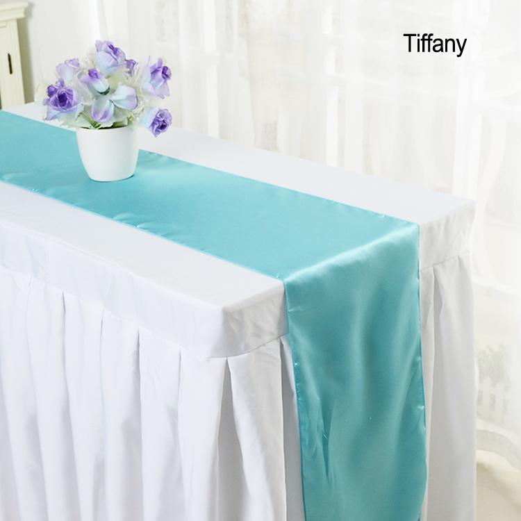Дешевые Современные однотонные цвет свадебные атласные Таблица Бегуны для дома партии свадебные украшения стола