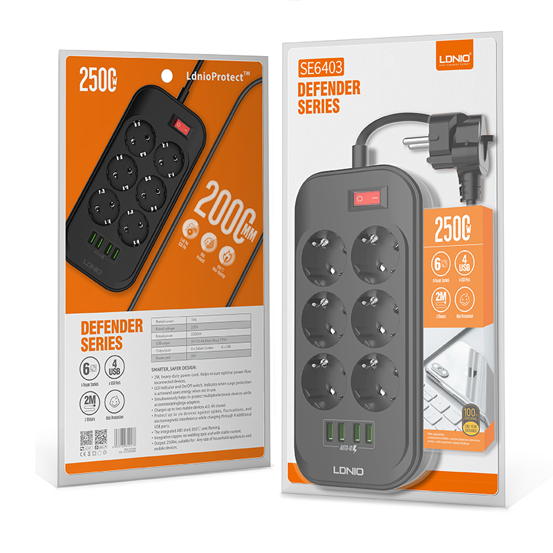 Amazon Hot Selling LDNIO EU Extension Socket 4 USB Electrical Socket 6 Outlets : SE6403