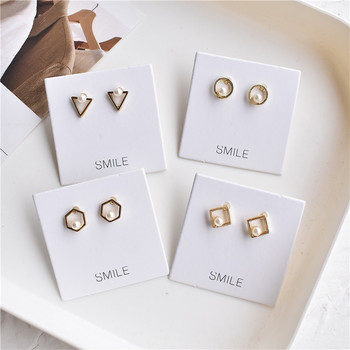 Hot Sale Geometry Earrings Fashion Jewelry Pearl Earrings For Women Brincos Oorbellen Cute Triangle Stud Earrings