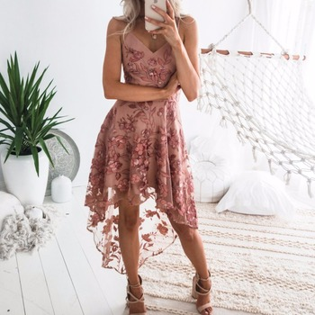 2019 ladies lace dresses short front long back pink cocktail dress for lady