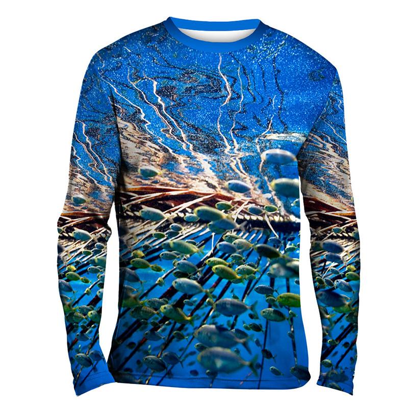 Рубашка для рыбалки с длинным рукавом, с сублимированной УФ-защитой