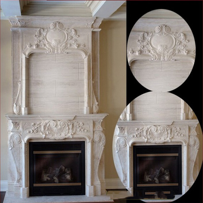 Italian style carved royal large antique fancy white marble fireplace mantel