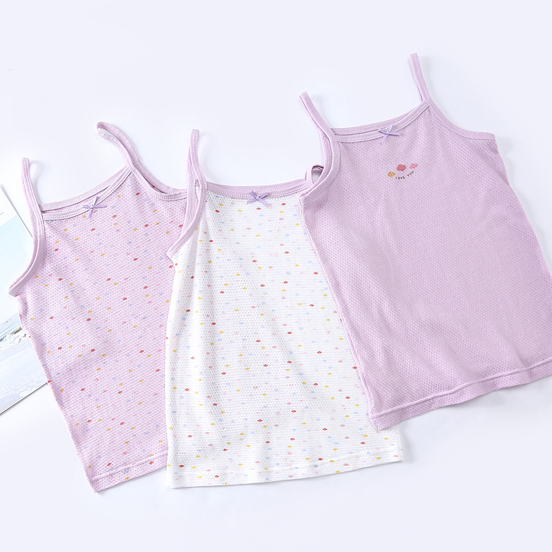 3 Pack Chic Girls Tank Top Breathable Mesh Waistcoat Summer Girls Camisole Baby Girls Vest