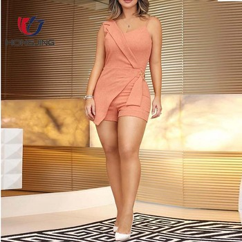 women polyester solid pink O-Ring Design Fake Two Piece Romper One Piece nightwear party wedding jumpsuit cocktail