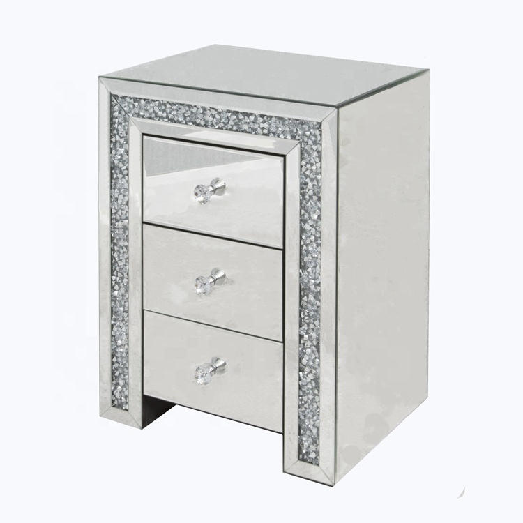 Coolbang Diamond Crush Mirror Glass Bedside Table With Drawers Buy Bed Side Nightstand Mirrored Product On Alibaba Com