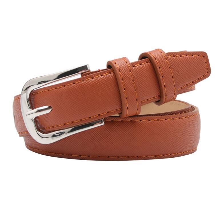 Simple Silver Metal Buckle Fashion Women Pu Leather Belt