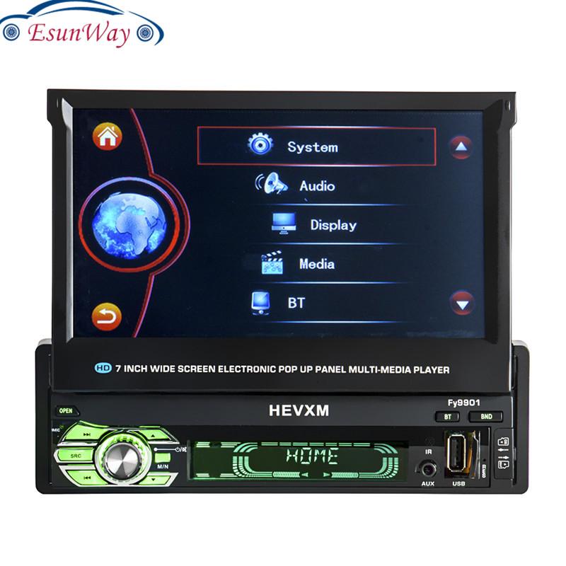 1Din 7 дюймов выдвижной сенсорный экран головное устройство Android обоих концах для подключения внешних устройств к автомобильной радио плеер с автоматическим открытием HD экран GPS навигация Авто Радио стерео