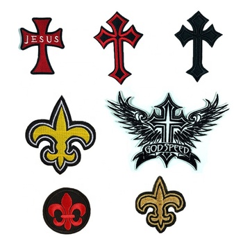 Jesus Crucifix Cross Jesus Fish Patch Christian Faith Religion Embroidered Iron On Applique Badge Patch I Love Jesus God Speed