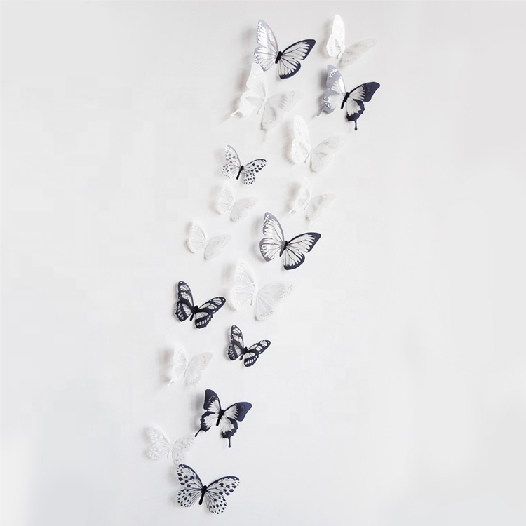 18pcs//lot 3d Effect Crystal Butterflies Wall Sticker Beautiful for Kids Room Wal