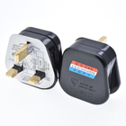 wholesale BS UK type G wiring electrical plug 3 pins with 13A fused black power industrial plug top