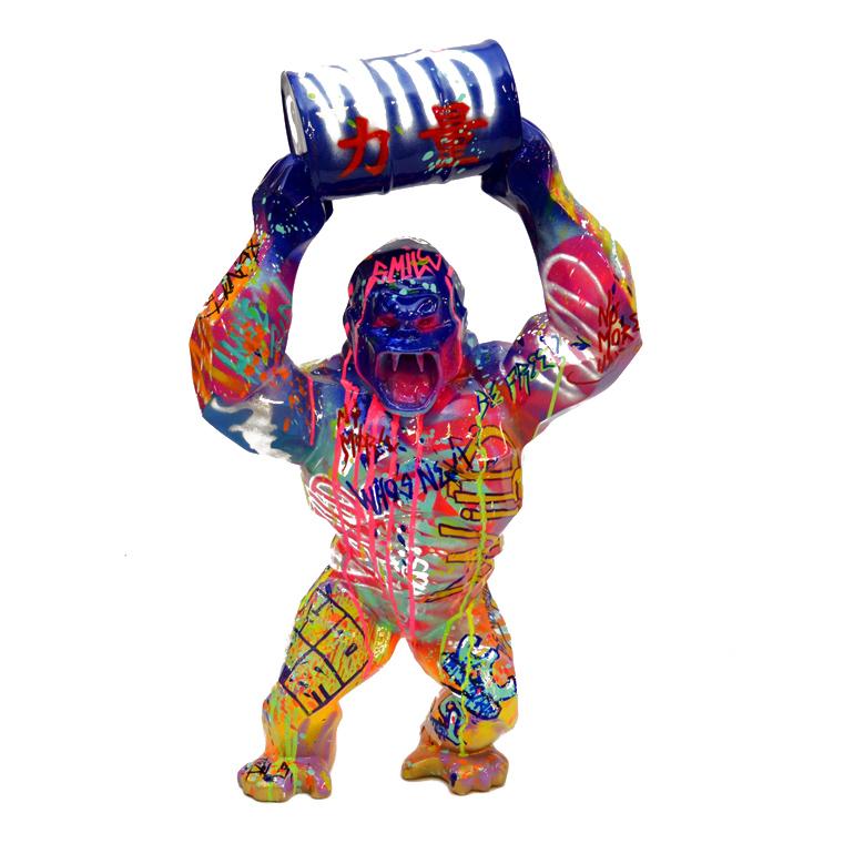 Vincentaa 2021 Hot Sale Pop Art High Quality Large Resin Fiberglass Wild Kong Gorilla Sculpture Statue