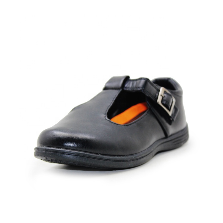 Принцесса T-образный ремешок, черная детская модная обувь из искусственной кожи для девочек, школьная обувь для детей