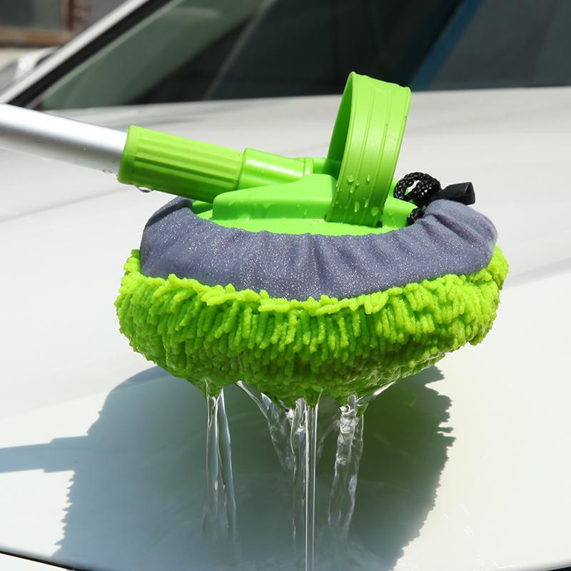 Щетка для автомобиля с длинной ручкой, телескоп с ультра-глубокой чистоты и алюминиевой ручкой, щетка для мойки автомобиля из кораллового бархата и ткани с потоком воды