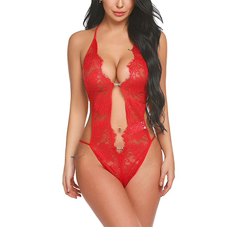 Womens Open Back Halter Plunging Teddy,Comfortable Scalloped Trim Lace Lingerie