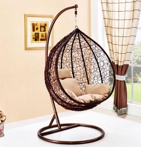 Современная уличная мебель на заказ, металлический подвесной качающийся стул в форме яйца