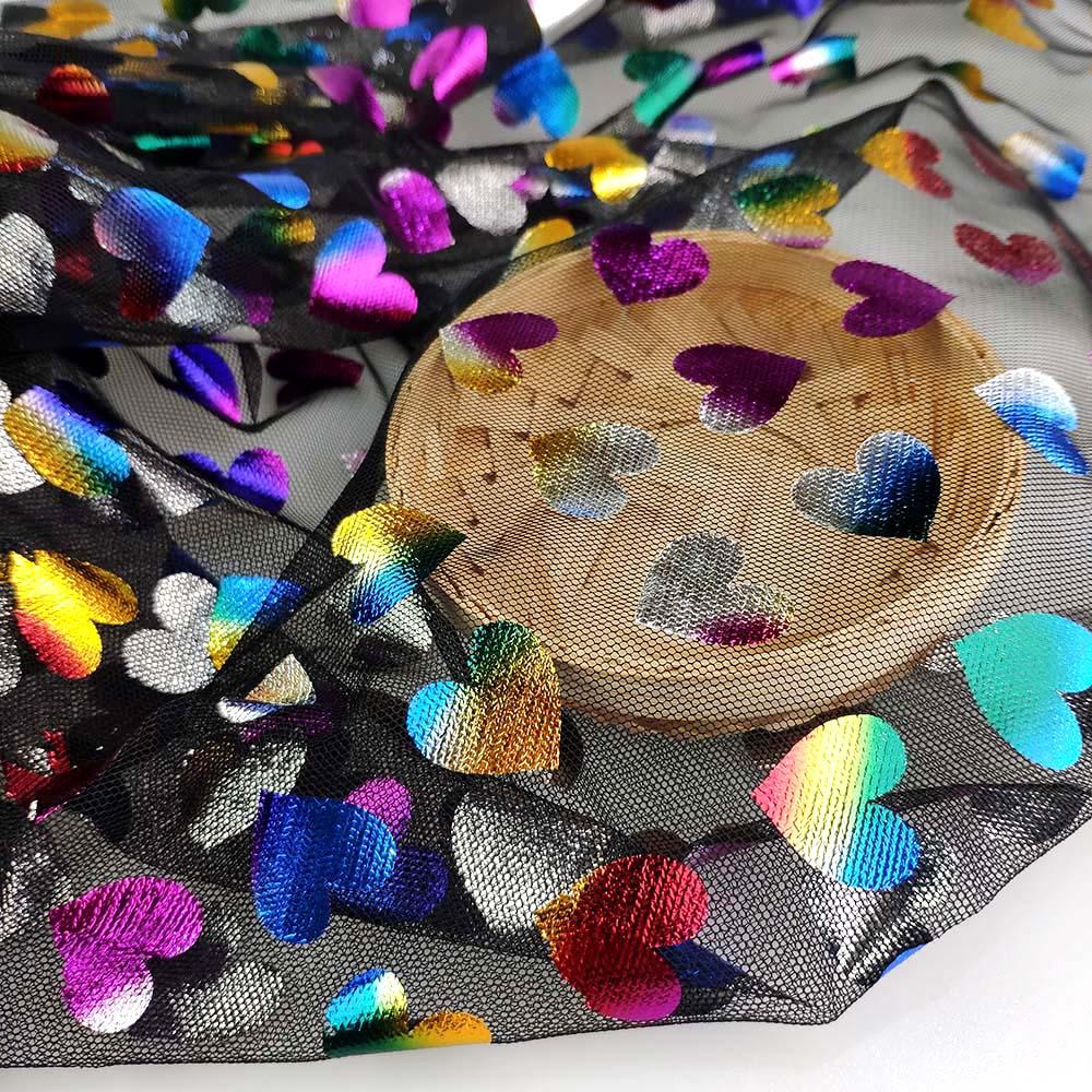 Custom iridescent foil rainbow design tulle lace fabric