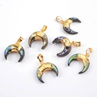 G1714 Moon shape abalone shell pendant Real gold plated abalone jewellery wholesale