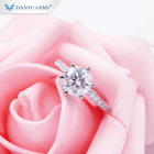 Tianyu Gems hot sale classic six claw design diamonds band 2ct moissanite solitaire pure gold ring