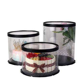 Food grade round Transparent PET Plastic Clear Cake cylinder Box