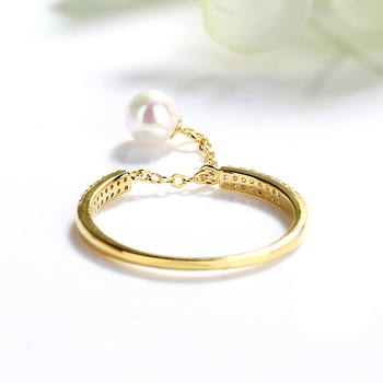 925 Sterling Silver Adjustable Zircon Pearl Gold Rings For Women