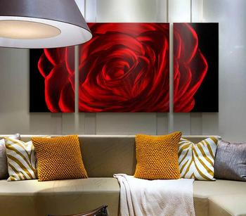 "Red Rose Abstract Aluminum Metal Wall Art, Set of 3 Panels Enhancing Decorative Sculpture for your home/business - 50"" x 24"""
