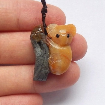 Loose Gemstone Carving Natural Gem Anime Pendant Anazonite Koala Engraving for stones buyers 25x20x6mm 4.8g