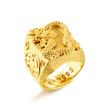 High Gold Ring Top Quality No Fade Vietnam Alluvial Gold Dragon Rings Adjustable Jewelry for Men