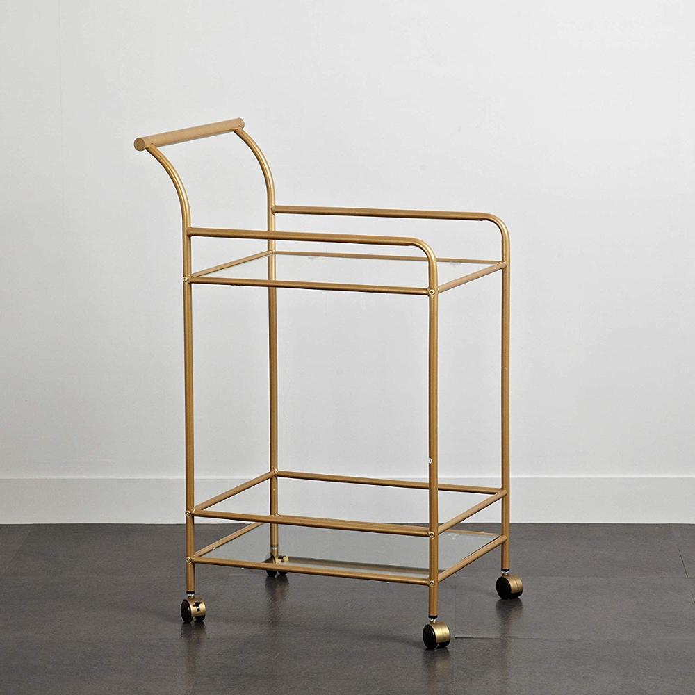 Tempered Glass and Metal Bar Cart