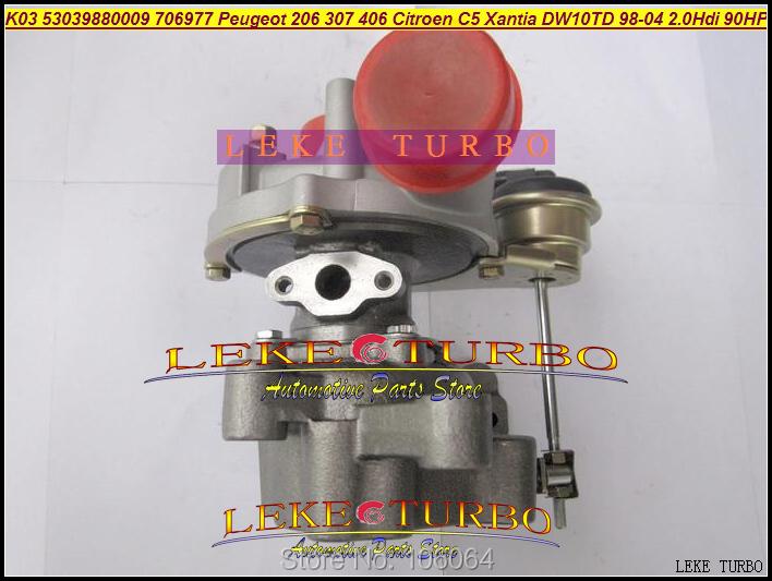 K03 53039880009 53039700009 706977-0003 Turbo Turbocharger For Peugeot 206 307 406 Citroen C5 Xantia DW10TD RHY 1998-2004 2.0L HDI 90HP (3)