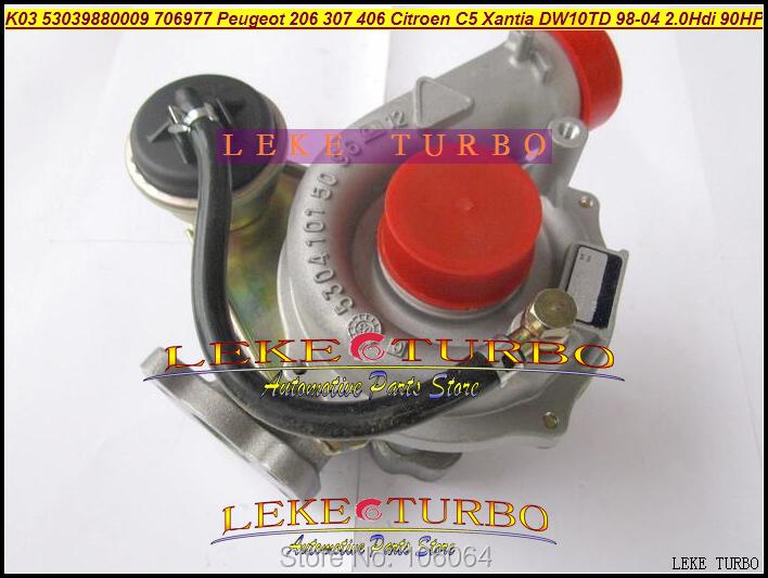 K03 53039880009 53039700009 706977-0003 Turbo Turbocharger For Peugeot 206 307 406 Citroen C5 Xantia DW10TD RHY 1998-2004 2.0L HDI 90HP