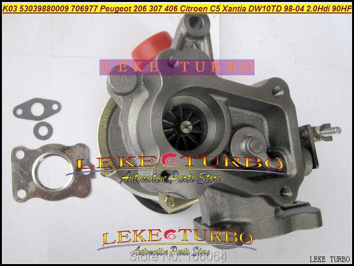 K03 53039880009 53039700009 706977-0003 Turbo Turbocharger For Peugeot 206 307 406 Citroen C5 Xantia DW10TD RHY 1998-2004 2.0L HDI 90HP (4)