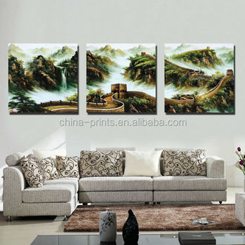 3 Pieces Landscape Canvas Wall Art Famous Great Wall Picture Print For Home Living Room Decoration